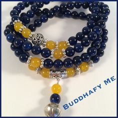 Lapis and citron bead necklace/bracelet with Tibetan silver beads by Buddhafy Me