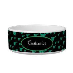 Shop Black & Green Kitty Pattern Pet Bowl created by thepawkinglot. Creature Comforts, Pet Bowls, Succulents Diy, Ceramic Bowls, Pet Shop, Keep It Cleaner, Colorful Backgrounds, Your Pet, Art Pieces