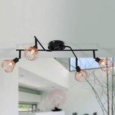 Deckenlampe Vasilia Dreiflammig Rondell Stoff Schwarz Gold Lampenwelt Leuchte