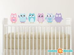 Owl Fabric Wall Decals Set of 6 Owls - Available in 4 color options and 4 size options