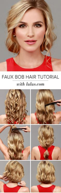 Are you loving the bob trend, but hate the thought of parting with your long tresses? Give our Faux Bob Hair Tutorial a try and youll be amazed! Wedding Hairstyles For Long Hair, Bob Hairstyles, Vintage Hairstyles, Elegant Hairstyles, 1920s Hair Tutorial, Faux Bob, Vintage Wedding Hair, Hair Wedding, Make Up Braut