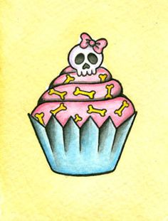 Original Skull Cupcake Mini NeoTraditional Old by TheTattooGirl