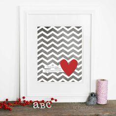 Each Beat of My Heart - Love Wedding Nursery Gray Grey Chevron Red Heart - Love Art Print Nursery Gray, Girl Nursery, Nursery Inspiration, Nursery Ideas, Bedroom Ideas, Bedroom Decor, Love Posters, Heart Print, Love Art