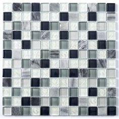 Blue / Blanco Glass Mix 23x23mm Mosaic - Tile Giant £16.99 per 30.5x30.5cm tile
