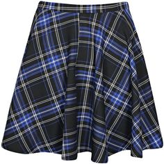 Boohoo Libbi Tartan Check Skater Skirt (135 RON) ❤ liked on Polyvore featuring skirts, bottoms, blue, blue circle skirt, tartan skater skirt, blue plaid skirt, blue skater skirt and circle skirts