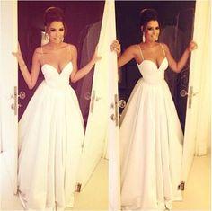 long Evening Dress,white Prom Dress,A-line prom dress,spaghetti prom dress,evening gown 2017,BD2705