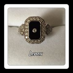 925 Lenox Onyx Ring ⬛️Pure elegance describes this amazing ring⬛️It is a rectangular shaped onyx surrounded by round cut crystals⬛️It is fully hallmarked⬛️Size 7.75⬛️ Lenox Jewelry Rings