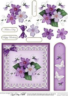 Pretty Viola Quick Card with 3D Decoupage on Craftsuprint - Add To Basket!