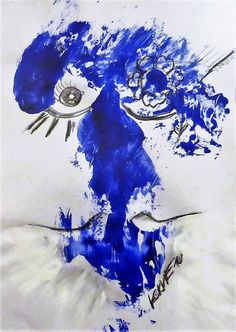 Blue Beauty Kim Okura Art on Paper, Mixed Media KOKVIE