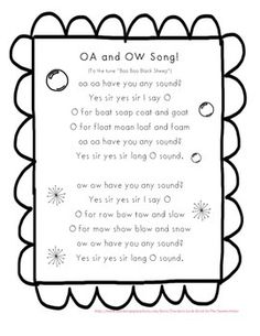 "OW and OA song to the tune ""Baa Baa Black Sheep"".  Students may read as whole class or individual.  A sorting worksheet is attached as page 2.  Enjoy! :)Please rate and comment..and follow me! :)"