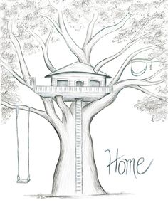 Home is Where the Tree House is - Modern Easy Pencil Drawings, Art Drawings Sketches Simple, Cool Drawings, Realistic Drawings, Pencil Drawing Images, Beautiful Sketches, Pretty Drawings, Drawing Faces, Tree House Drawing