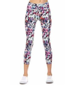 Mono B Activewear Pink   White Abstract Capri Leggings a583f74931dcd