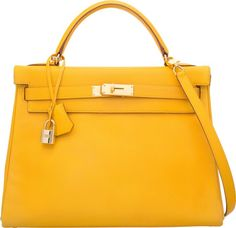 Hermes 32cm Jaune Courchevel Leather Retourne Kelly Bag with GoldHardware. A Square, 1997. Very Good Condition.1...