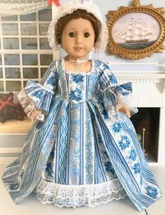 """RESERVED: Felicity & Elizabeth's Colonial Williamsburg """"Christmas Grand Illumination Ball"""" Gown, Cap and Necklace- fits new + older AG dolls Williamsburg Christmas, Colonial Williamsburg, Mother Of Pearl Rose, Roman Candle, White Lace Fabric, Modern Colonial, King Birthday, Cap And Gown, Chinese Lanterns"""