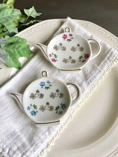 Teapot Tea Bag Holders Vintage Ceramic Tea Pot Teabag Floral