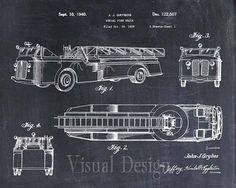 Aerial Firetruck Patent Print, Patent Art Print, Patent Poster, Firetruck, Fireman Gift, Firefighter