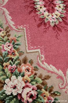 Vintage Home - 1940s Roses and Pink Wool Rug: www.vintage-home.co.uk