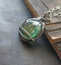 Glass, Tiffany Technique, Green, Handmade Metalwork, Hand Forged, Oval, Colorful, Boho Pendant with a Chain