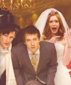 Eleven & The Ponds (The best part of this picture is Amy freaking out over her wedding ring. :)