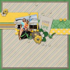 Three Digital Sides of a page challenge - September 2016 :: Example of a layout with yellow, a journal card and the number 4