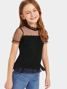 To find out about the Girls Dot Mesh Shoulder Smocked Top at SHEIN, part of our latest Girls Blouses ready to shop online today! Fashion Niños, Kids Fashion, Fashion Outfits, Fashion Trends, Dresses Kids Girl, Kids Outfits Girls, Girl Outfits, Clothing Patterns, Dress Patterns
