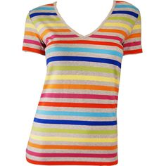 Le Phare Grey Rainbow Stripe T-shirt ($77) ❤ liked on Polyvore