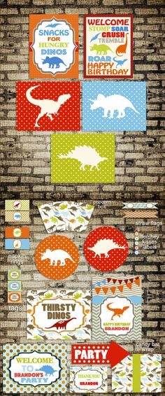 Dinosaur Birthday Party Decor  Large Pack Set  by SweetPapermint