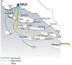 How to island-hop in Croatia using local ferries, cars and buses with suggested itineraries Rijeka to Zadar and Split to Dubrovnik. Croatia Map, Croatia Itinerary, Visit Croatia, Croatia Travel, Dubrovnik Croatia, Zagreb Croatia, Travel Route, Travel Maps, Travel Destinations