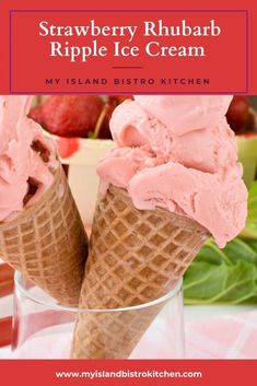 Waffle cones of pretty pink strawberry rhubarb ripple ice cream Make Ice Cream, Ice Cream Party, Ice Cream Maker, Homemade Ice Cream, Trim Healthy Recipes, Strawberry Balsamic, Peanut Butter Brownies, Waffle Cones, Rhubarb Recipes