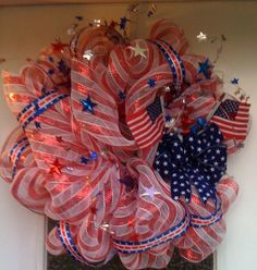 Patriotic Deco Mesh Wreath!  I have some of this mesh and I meant to make a wreath for the 4th but didn't get it done.  Thanks for the inspiration!