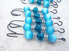 Ornament Hangers 10 Hooks Blue Beaded with Crystals. via Etsy.