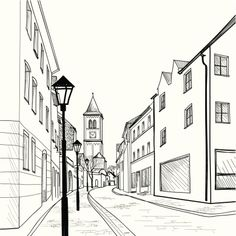 """line Art Church"" Images, Stock Photos & Vectors paris city landscape sketch Landscape Sketch, Landscape Drawings, City Landscape, Watercolor Landscape, Landscape Paintings, Perspective Drawing Lessons, Perspective Sketch, Point Perspective, Cityscape Drawing"