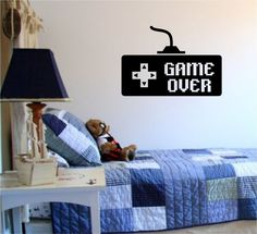 Game Over Controller Video Game Gamer Decal Sticker Wall Boy Girl Teen Child