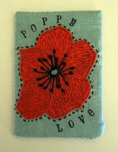 Hand embroidered Poppy ATC ACEO by peregrine blue, via Flickr