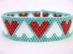 Hearts Bracelet / Peyote Bracelet / Beaded Bracelet in Red, White and Turquoise / Seed Bead Bracelet / Thin beaded Bracelet / Romantic Seed Bead Patterns, Peyote Patterns, Jewelry Patterns, Bracelet Patterns, Beading Patterns, Beading Tutorials, Beading Ideas, Beading Supplies, Bead Loom Bracelets