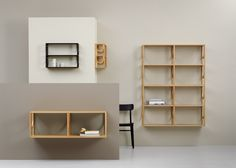 Swedish studio Note Design has created a collection of shelves for furniture brand Fogia that feature half-moon shapes, created by bent wooden supports