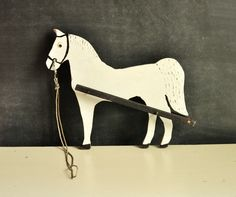 Vintage Handmade Wooden Horse Decor Folk Art Garden Farm. $36.00, via Etsy.