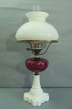 Antique GONE WITH THE WIND EAPG milk & cranberry glass Hurricane Lamp