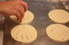 Hand or footprint ornaments Ingredients: 4 cups flour, 1 cup salt, 1 1/2 cups water. Knead dough for 15 to 20 minutes. Add imprints. Bake at 300F about 20 to 25 minutes or until golden