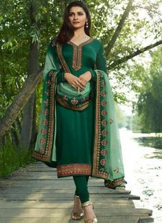 Pihu Elegant Satin Silk Embroidered Suits & Dress Materials Vol 4 Free COD booking & more collections WhatsApp *. Outfit Essentials, Green Suit Women, Suits For Women, Churidar Suits, Patiala, Indiana, Prachi Desai, Indian Dresses Online, Embroidered Kurti