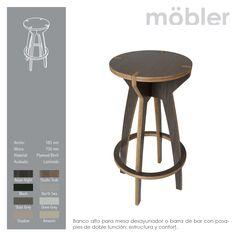 Banco alto para mesa desayunador o barra de bar con posa-pies de doble función: estructura y confort. Möbler - Trennbar.