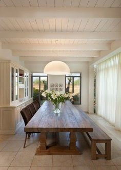 Rustic dining room table in contemporary dining room, preferably a cushioned bench