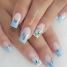 10 Amazing Spring Nail Art Designs That You Should Try Asap Manicure Nail Designs, Nail Manicure, Nail Art Designs, Cute Acrylic Nails, Cute Nails, Nail Designer, Butterfly Nail, Spring Nail Art, Pretty Nail Art