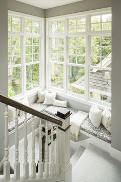 Window Seat & Landing Interior Design | Martha O'Hara Interiors, Interior Design | L. Cramer Builders + Remodelers, Builder | Troy Thies, Photography | Shannon Gale, Photo Styling #dreamhome