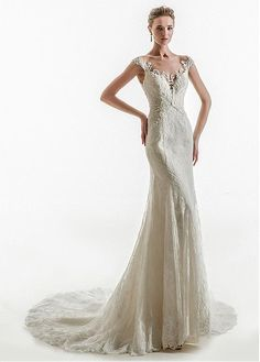 Buy discount Junoesque Tulle & Lace Jewel Neckline Mermaid Wedding Dress with Beaded Lace Appliques at Ailsabridal.com