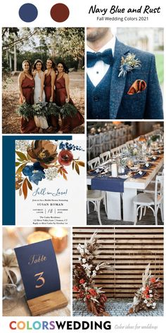 Top 8 Fall Wedding Color Combos for 2021 Navy Blue + Rust Wedding: rust bridesmaid dresses, navy blu October Wedding Colors, Fall Wedding Themes, Wedding Ideas, Navy Wedding Colors Fall, Fall Wedding Invitations, Navy And Copper, Future Mrs, Copper Wedding, Blue Gold Wedding