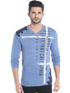 3455eb80bc Buy Campus Sutra Men Blue Printed V Neck T Shirt - Tshirts for Men
