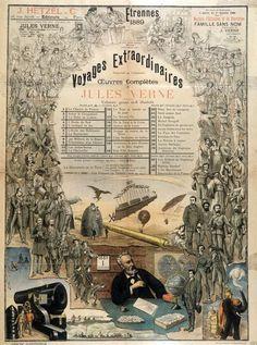 Jules Verne, affiche pour les Voyages extraordinaires