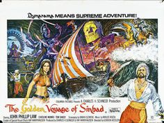 The Golden Voyage of Sinbad quad poster, designed by Eric Pulford and painted by Brian Bysouth, 1974