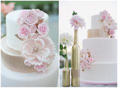 Beautiful pink, white and gold wedding cake.